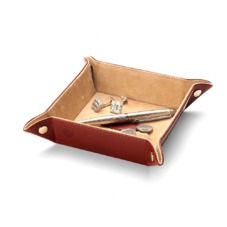 Mini Tidy Tray in Smooth Cognac & Stone Suede