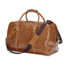 Large Harrison Weekender Travel Bag in Vintage Tan Croc. Mens Travel Bags from Aspinal of London