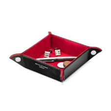 Mini Tidy Tray in Jet Black Lizard & Red Suede