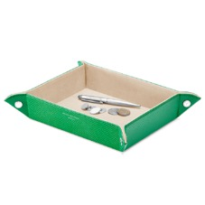 Large Tidy Tray in Grass Green Lizard & Cream Suede