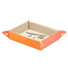 Large Tidy Tray in Orange Lizard & Cream Suede