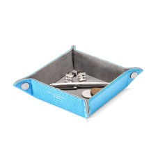 Mini Tidy Tray in Aquamarine Lizard & Silver Suede