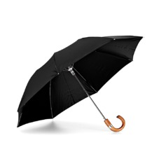 Mens Compact Automatic Umbrella with Maplewood Handle in Black. Umbrellas from Aspinal of London