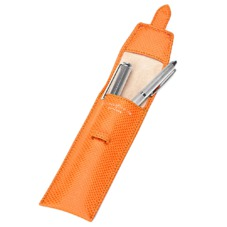 Small Pen Case in Orange Lizard & Cream Suede
