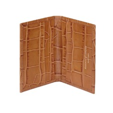 Double Fold Credit Card Case in Vintage Tan Croc. Business & Credit Card Holders from Aspinal of London