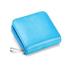Mini Continental Zipped Coin Purse in Aquamarine Lizard