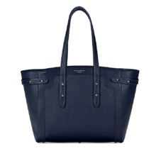 Marylebone Light in Navy Pebble. Handbags & Clutches from Aspinal of London