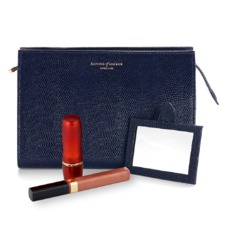 Medium Cosmetic Case in Midnight Blue Lizard