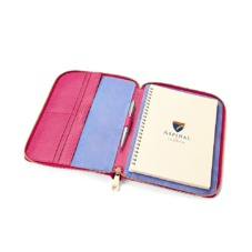 A5 Zipped Padfolio in Raspberry Lizard & Pale Blue Suede. Leather Portfolios & Padfolios from Aspinal of London