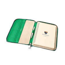 A5 Zipped Padfolio in Grass Green Lizard & Cream Suede. Leather Portfolios & Padfolios from Aspinal of London