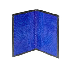 Double Fold Credit Card Case in Smooth Black & Cobalt Snakeskin. Business & Credit Card Holders from Aspinal of London