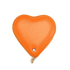Heart Coin Purse in Orange Lizard
