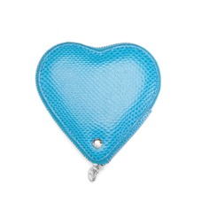Heart Coin Purse in Aquamarine Lizard