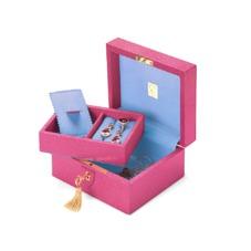 Bijou Jewellery Box in Raspberry Lizard & Pale Blue Suede