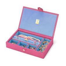 Paris Jewellery Box in Raspberry Lizard & Pale Blue Suede