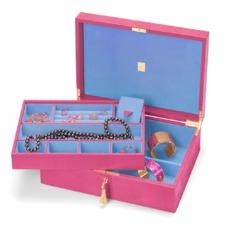 Grand Luxe Jewellery Case in Raspberry Lizard & Pale Blue Suede