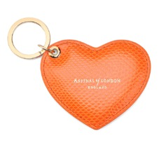 Heart Key Ring in Orange Lizard