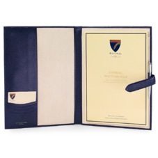 A4 Padfolio in Midnight Blue Lizard & Cream Suede. Leather Portfolios & Padfolios from Aspinal of London