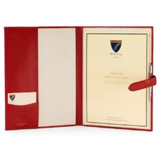 A4 Padfolio in Berry Lizard & Cream Suede. Leather Portfolios & Padfolios from Aspinal of London