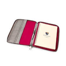 A5 Zipped Padfolio in Gunmetal Saffiano & Deep Fuchsia Suede. Leather Portfolios & Padfolios from Aspinal of London