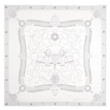 Aspinal Signature Shield Silk Scarf in Alabaster White. Ladies Silk Scarves from Aspinal of London