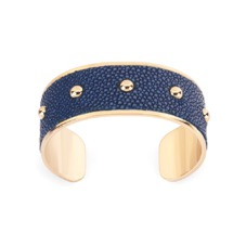 Athena Cuff Bracelet in Navy Stingray. Cuff Bracelets from Aspinal of London