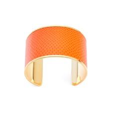 Cleopatra Cuff Bracelet in Orange Lizard. Cuff Bracelets from Aspinal of London