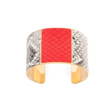 Minerva Cuff Bracelet in Natural Python & Flame Red Snake. Cuff Bracelets from Aspinal of London