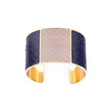 Minerva Cuff Bracelet in Navy & Soft Taupe Snake. Cuff Bracelets from Aspinal of London
