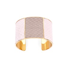 Minerva Cuff Bracelet in Dusty Rose & Soft Taupe Snake. Cuff Bracelets from Aspinal of London