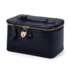 Marylebone Cosmetic Case in Navy Pebble. Outlet from Aspinal of London