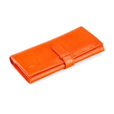 London Ladies Purse Wallet in Orange Lizard & Cream Suede. Outlet from Aspinal of London