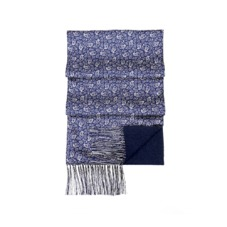 Men's Double Faced Cashmere & Silk Paisley Scarf in Cobalt Blue. Mens Cashmere & Wool Scarves from Aspinal of London