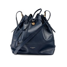 Large Padlock Bucket Bag in Smooth Navy. Handbags & Clutches from Aspinal of London