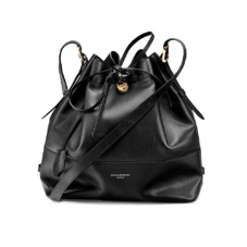Large Padlock Bucket Bag in Smooth Black. Handbags & Clutches from Aspinal of London