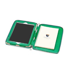 Continental Zipped iPad Air Case with Notebook in Grass Green Lizard