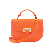 Letterbox Saddle Bag in Orange Pebble. Handbags & Clutches from Aspinal of London