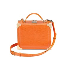 Mini Trunk Clutch in Orange Lizard. Handbags & Clutches from Aspinal of London