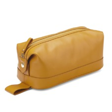Men's Leather Wash Bag in Smooth Mustard