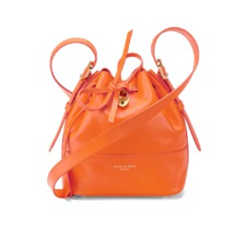 Mini Padlock Bucket Bag in Smooth Orange. Handbags & Clutches from Aspinal of London