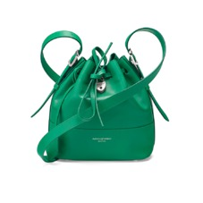 Mini Padlock Bucket Bag in Smooth Grass Green. Handbags & Clutches from Aspinal of London