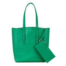 Aspinal Essential Tote in Grass Green Pebble & Green Suede. Handbags & Clutches from Aspinal of London