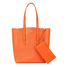 Aspinal Essential Tote in Orange Pebble & Orange Suede. Handbags & Clutches from Aspinal of London