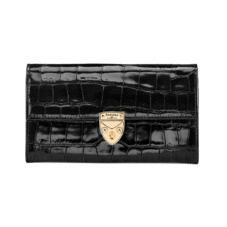 Mayfair Purse in Deep Shine Black Croc