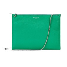 Soho Flat Clutch in Grass Green Pebble. Handbags & Clutches from Aspinal of London