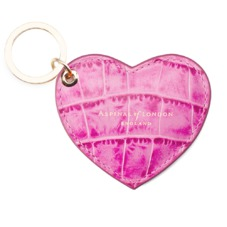 Heart Key Ring in Hot Pink Croc. Outlet from Aspinal of London