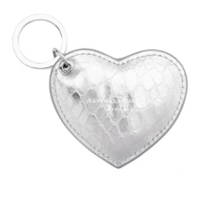 Heart Key Ring in Silver Snake. Outlet from Aspinal of London