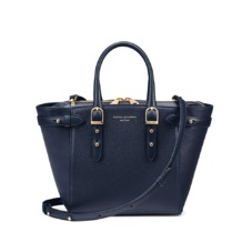 Mini Marylebone Tote in Navy Pebble. Handbags & Clutches from Aspinal of London