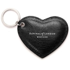 Heart Key Ring in Jet Black Lizard