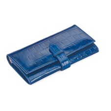 London Ladies Purse Wallet in Navy Patent Croc. Outlet from Aspinal of London